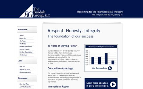 Screenshot of Home Page bandishgroup.com - The Bandish Group, Pharmaceutical Recruiters - captured Oct. 6, 2014