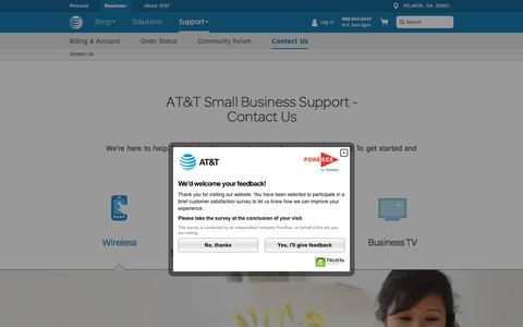 Screenshot of Contact Page att.com - Contact Us Support - AT&T Small Business - captured May 12, 2016