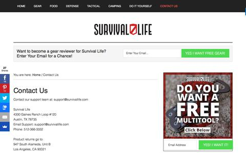 Screenshot of Contact Page survivallife.com - Contact Us | Survival Life Blog & Store - captured March 11, 2018