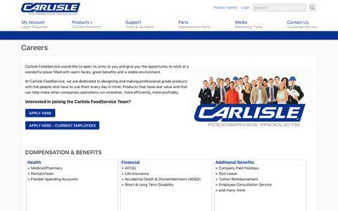 Screenshot of Jobs Page carlislefsp.com - Careers   Carlisle FoodService Products - captured Sept. 22, 2018