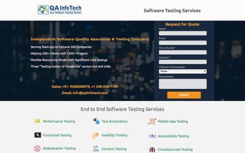 Screenshot of Landing Page qainfotech.com - QA InfoTech - captured July 15, 2016