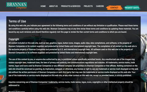 Screenshot of Terms Page brannan1.com - Terms of Use | Brannan Sand and Gravel | Denver Paving Ready Mix and Pipeline - captured Oct. 6, 2018