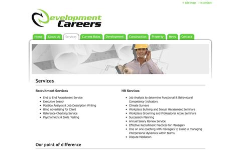 Screenshot of Services Page developmentcareers.com.au - DEVELOPMENT CAREERS - Services - captured Aug. 6, 2018