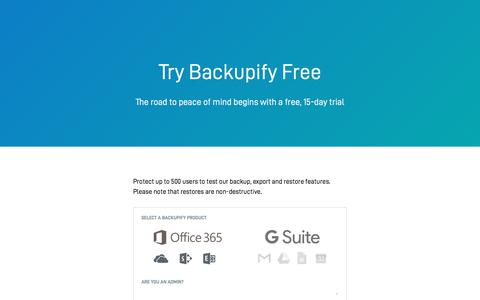 Screenshot of Trial Page backupify.com - Backupify Free Trial Signup - captured May 28, 2018