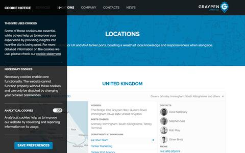Screenshot of Locations Page graypen.com - Locations | Graypen - Tanker Port Agency, Hub Agency, STS, LNG, Husbandry, Customs Clearance, EU-ACD, Shipping Research, 24 Hour Support - captured Sept. 30, 2018