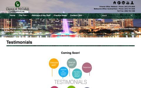 Screenshot of Testimonials Page clayton-mcculloh.com - Testimonials | Clayton & McCulloh - captured Nov. 2, 2014