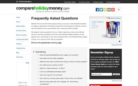 Screenshot of FAQ Page compareholidaymoney.com - Frequently Asked Questions when buying Holiday Money and Foreign Currency Online - captured Sept. 24, 2014