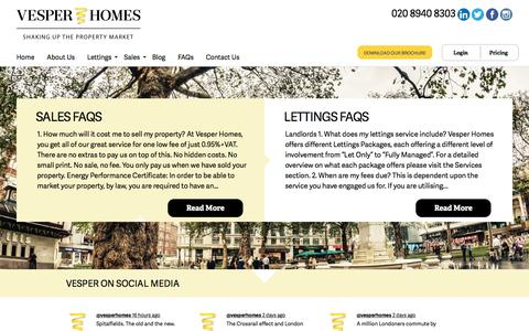 Screenshot of FAQ Page vesperhomes.co.uk - Frequently Asked Questions - Estate Agents Central London | Vesper Homes. - captured Aug. 12, 2016