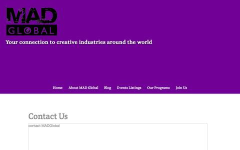 Screenshot of Contact Page madglobal.org - Contact Us - MAD Global - captured Sept. 30, 2014