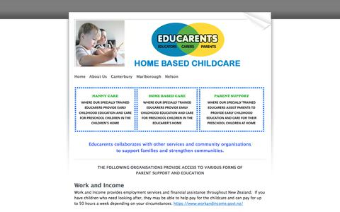 Screenshot of Support Page educarents.com - Whānau Support - ​​​Educarents coordinates high quality, affordable home based childcare and education services - captured July 17, 2017