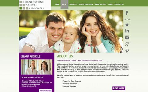 Screenshot of About Page cornerstonedentists.com - Cornerstone Dental About Us - captured Oct. 3, 2014