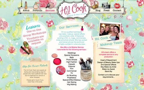 Screenshot of Services Page hilcook.co.nz - Hil Cook Makeup and Hair Artists - captured Oct. 8, 2014