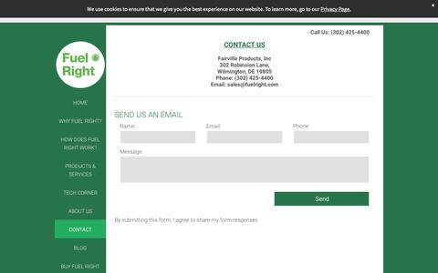 Screenshot of Contact Page fuelright.com - Fuel Right Diesel Additive to Prevent Sludge - captured Sept. 1, 2018