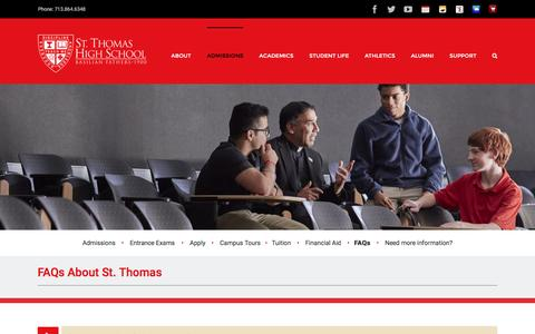 Screenshot of FAQ Page sths.org - FAQs - St. Thomas High School - captured Dec. 3, 2016