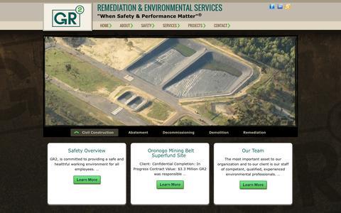 "Screenshot of Home Page gr2llc.com - Gr2, LLC. - Remediation & Environmental Services   ""When Safety & Performance Matter""® - captured July 17, 2015"
