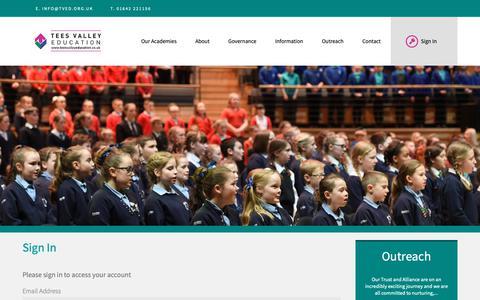 Screenshot of Login Page teesvalleyeducation.co.uk - Tees Valley Education - captured Dec. 2, 2018