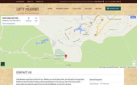 Screenshot of Contact Page loftymeadows.com - Lofty Meadows :: Luxury Heritage Home :: Kodaikanal :: Contact Us :: Address :: Telephone Number :: Email :: Inquiry :: Map :: Location - captured Sept. 30, 2014