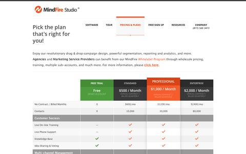 Screenshot of Pricing Page mindfirestudio.com - Marketing Automation Plans and Pricing Tables - MindFire Studio - captured Oct. 7, 2014
