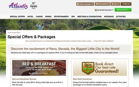 Screenshot of atlantiscasino.com - Reno Hotel Deals and Offers | Atlantis Casino Resort Spa - captured March 20, 2016
