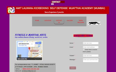 Screenshot of Contact Page amitlalwaniskickboxingacademy.com - amit lalwanis kickboxing muaythai selfdefense academy mumbai - captured Dec. 25, 2015