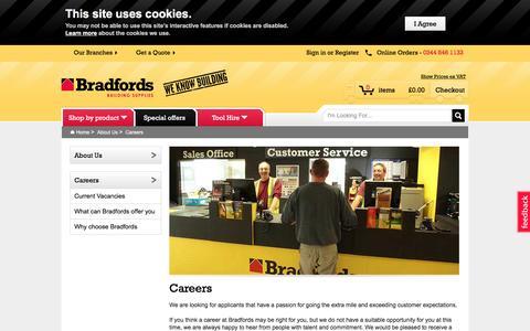 Screenshot of Jobs Page bradfords.co.uk - Careers - captured Aug. 28, 2016