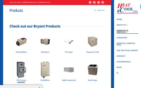 Screenshot of Products Page heatandcool.net - Bryant Products | Heat & Cool - captured Sept. 28, 2018