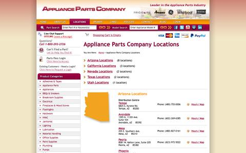 Screenshot of Locations Page appliancepartscompany.com - Appliance Parts Company Locations : Appliance Parts Company - captured July 30, 2018