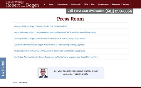 Screenshot of Press Page bogenlaw.com - Interviews & Recordings by Attorney Robert Bogen | Press Room - captured Sept. 27, 2018