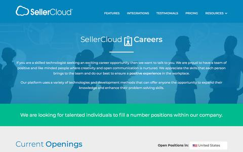 Screenshot of Jobs Page sellercloud.com - Careers: Multi Channel Ecommerce Software | Inventory Management Solution - SellerCloud - captured Sept. 20, 2018