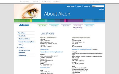 Screenshot of Locations Page alcon.com - Alcon Locations around the world - captured Sept. 23, 2014