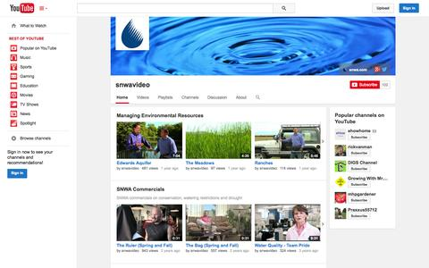 Screenshot of YouTube Page youtube.com - snwavideo  - YouTube - captured Oct. 25, 2014