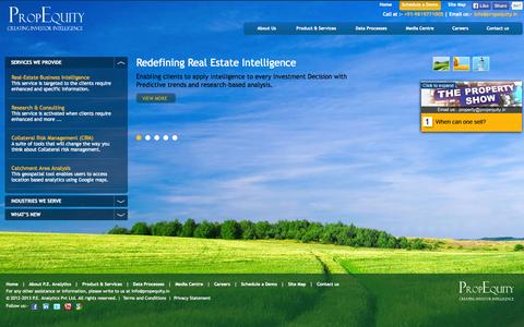 Screenshot of Home Page propequity.in - Real Estate Data, Analytics, Market Research Reports, Property Price Trends Analysis Tool & Investor Intelligence Company | PropEquity (P.E.) Analytics, India - captured Sept. 23, 2014