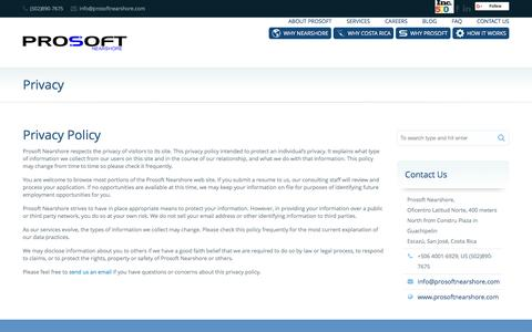 Screenshot of Privacy Page prosoftnearshore.com - Privacy Policy | Software Outsourcing | Prosoft Nearshore - captured Dec. 3, 2015