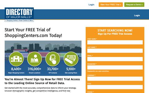 Screenshot of Trial Page shoppingcenters.com - Your Source for shopping center, mall, and retail information - ShoppingCenters.com - captured Feb. 12, 2019