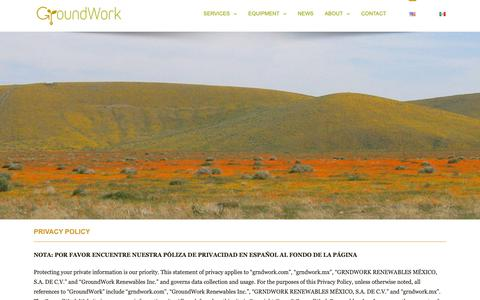 Screenshot of Privacy Page grndwork.com - GroundWork Privacy Policy | GroundWork Renewables, Inc. - captured Sept. 30, 2018
