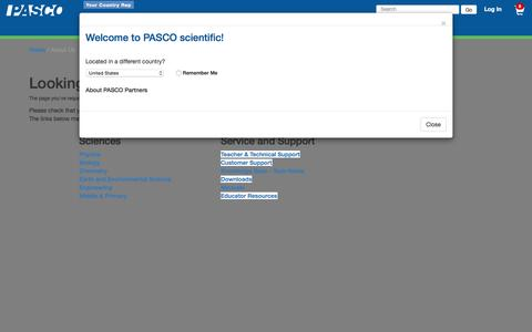 Screenshot of Contact Page pasco.com - About Us: PASCO - captured Sept. 26, 2015