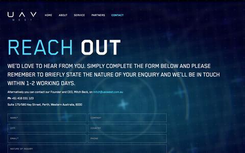 Screenshot of Contact Page uavwest.com.au - Contact • UAV West - captured Sept. 30, 2014