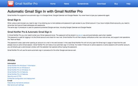 Screenshot of Login Page gmailnotifier.se - Gmail Notifier Pro - Automatic Gmail Sign In - captured Feb. 19, 2016