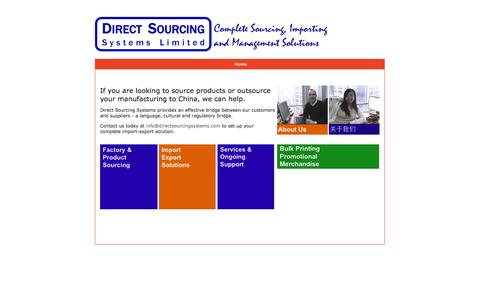 Screenshot of Home Page directsourcingsystems.com - Direct Sourcing Systems - China Product and Factory Sourcing - captured Sept. 30, 2014