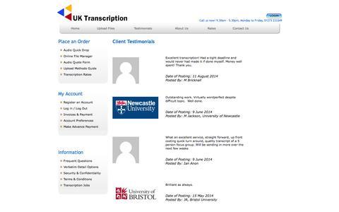 Screenshot of Testimonials Page uktranscription.com - Testimonials for UK Transcription Services - captured Sept. 23, 2014