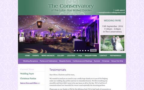 Screenshot of Testimonials Page lutonhoo-walledgarden.co.uk - Wedding & Events Venue in Luton & near Harpenden / Luton Hoo Walled Garden - captured June 24, 2016