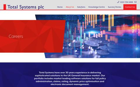 Screenshot of Jobs Page totalsystems.co.uk - Careers - Total Systems Plc - captured Nov. 18, 2018