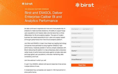 Screenshot of Landing Page birst.com - Birst | Birst and EXASOL Deliver Enterprise-Caliber BI and Analytics Performance - captured Sept. 20, 2016
