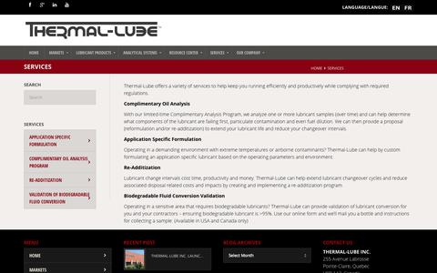 Screenshot of Services Page thermal-lube.com - Services - THERMAL-LUBE - captured Oct. 7, 2014