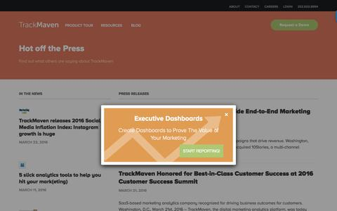 Screenshot of Press Page trackmaven.com - Press Releases – TrackMaven - captured July 21, 2016