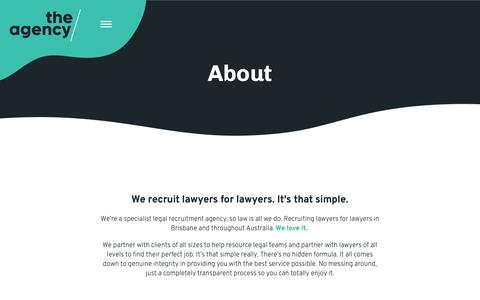 Screenshot of About Page the-agency.com.au - About The Agency | Specialist Legal Recruiters | The Agency | Recruiting Lawyers for Lawyers - captured Nov. 15, 2018