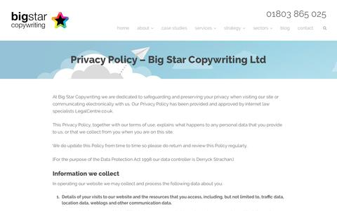 Privacy policy - Big Star Copywriting