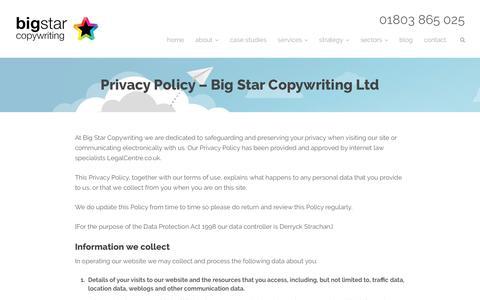 Privacy policy - Big Star Copywriting