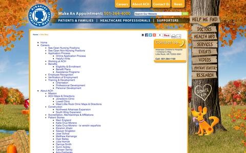 Screenshot of Site Map Page archildrens.org - Site Map | Arkansas Children's Hospital - captured Nov. 23, 2015