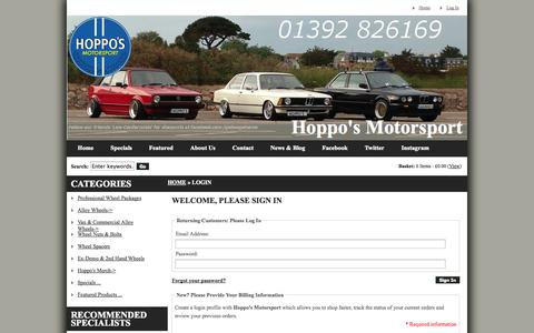 Screenshot of Login Page secure-43.co.uk - Login : Hoppo's Motorsport, Alloy Wheels South West - captured Oct. 28, 2014